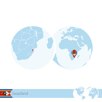 Swasiland auf der weltkugel mit flagge und regionaler karte von swasiland. vektor-illustration.