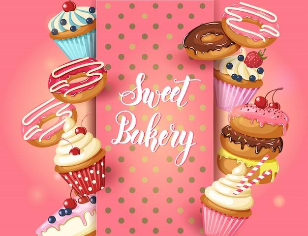 Sweet bakery frame mit glasierten donuts, käsekuchen und cupcakes mit kirschen, erdbeeren und heidelbeeren