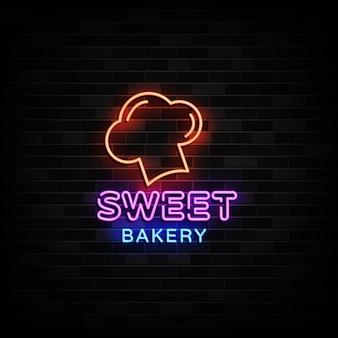Sweet bakery logo neonschilder neon design style Premium Vektoren