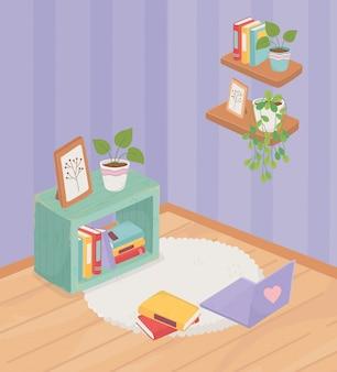 Sweet home bücherregal rahmen pflanze teppich laptop bücher auf teppich regale dekoration