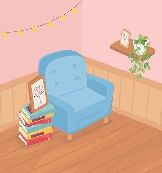 Sweet home sofa bücher gestapelt rahmen pflanze auf regal lichter raum
