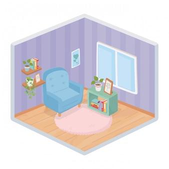 Sweet home sofa bücherregal rahmen regal teppichrahmen fenster raum isometrischen stil