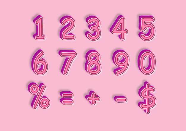 Sweet pink 3d style zahlen set
