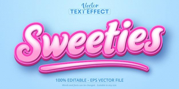 Sweeties-text, bearbeitbarer texteffekt im cartoon-stil