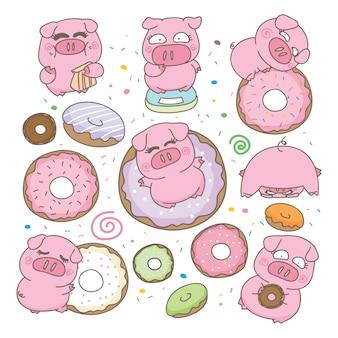 Sweety-schwein mit donutillustration