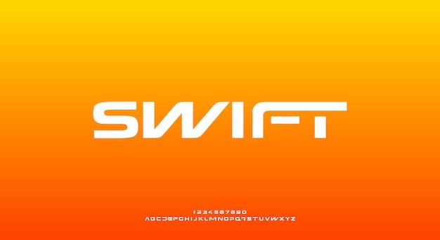 Swift, eine abstrakte sportliche futuristische alphabetschrift mit technologiethema. modernes minimalistisches typografie-design