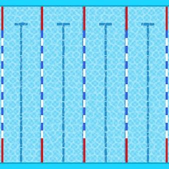 Swimmingpool draufsicht mit blauem wasser für sport und erholung.