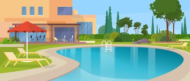 Swimmingpool-großes modernes landhaus-hotel-haus außen