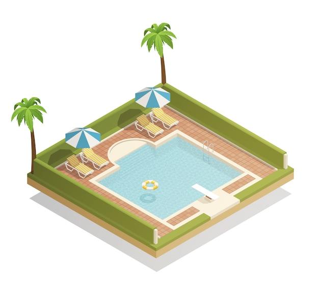 Swimmingpool im freien isometrisch