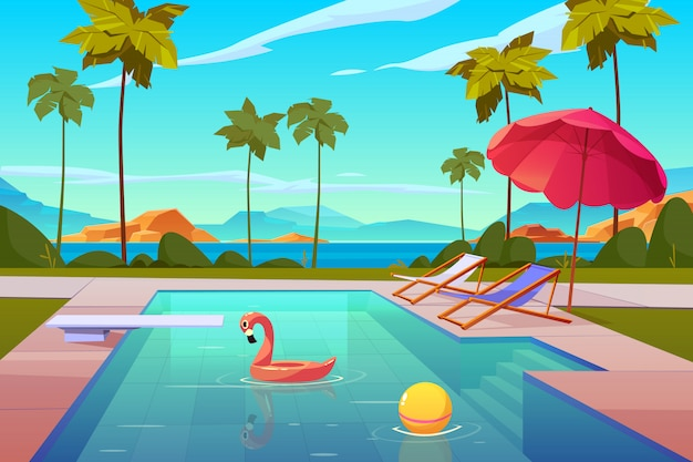 Swimmingpool im hotel oder im erholungsort draußen