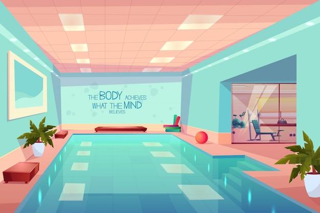 Swimmingpool im turnhalleninnenraum, leeres sporteignungszentrum mit ausrüstung