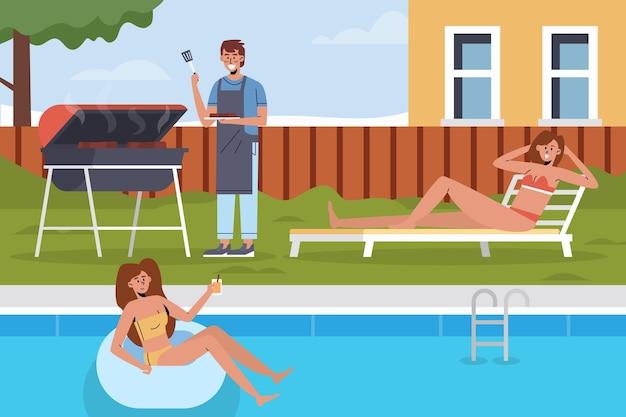 Swimmingpool und grillaufenthalt