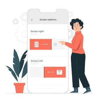 Swipe options konzept illustration