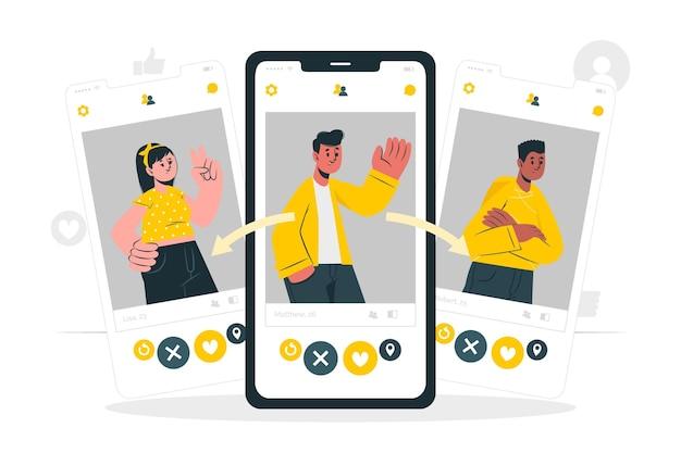 Swipe profile konzept illustration