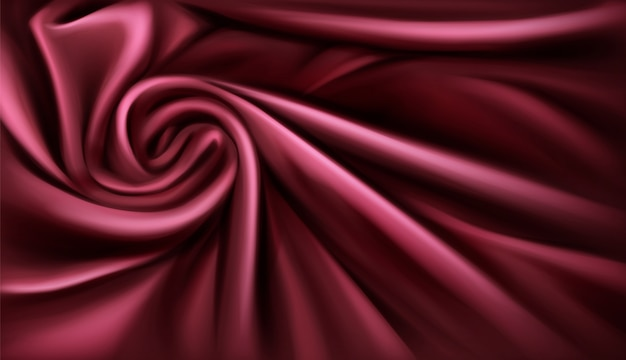 Swirl stoff seide hintergrund, luxuriöse weinige vorhänge gefaltet textil mit weichen spiralwirbel satin wellen