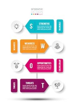 Swot-analyse-geschäft oder marketing-infografik-vorlage