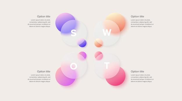 Swot-analyse-infografik zirkuläre strategische unternehmensplanung
