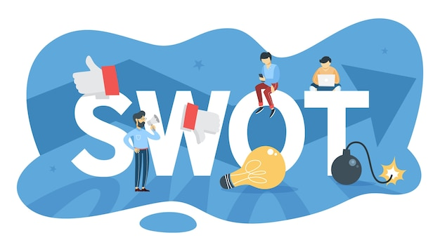 Swot-analyse. stärke und schwäche, bedrohungen und chancen. marketingstrategie und geschäftsplanung. illustration