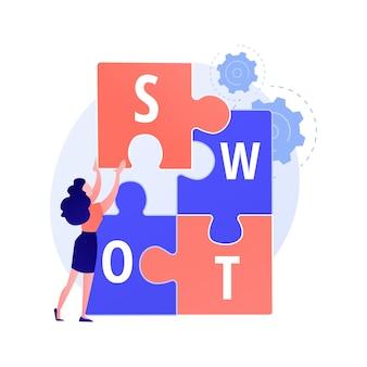 Swot-analyse. stärken und schwächen, bewertung von bedrohungen und chancen, bewertung des projekterfolgs. krisenmanager plant unternehmensaktivität.