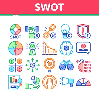 Swot-analyse-strategie-sammlungs-ikonen eingestellt