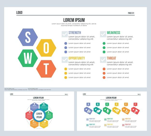Swot, badges, hexagonal set präsentationsfolie und powerpoint-vorlage