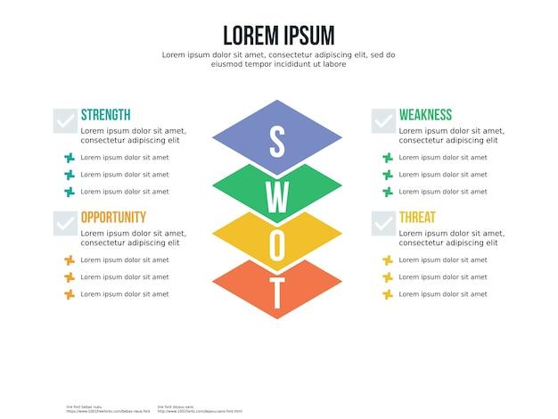 Swot infographik element und präsentationsvorlage