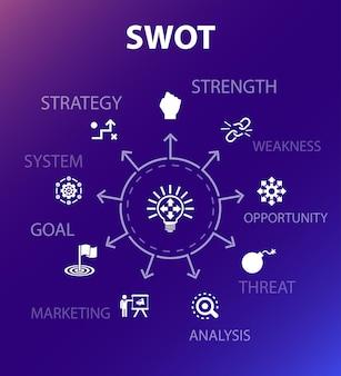 Swot-konzeptvorlage. moderner designstil. enthält symbole wie stärke, schwäche, chance, bedrohung