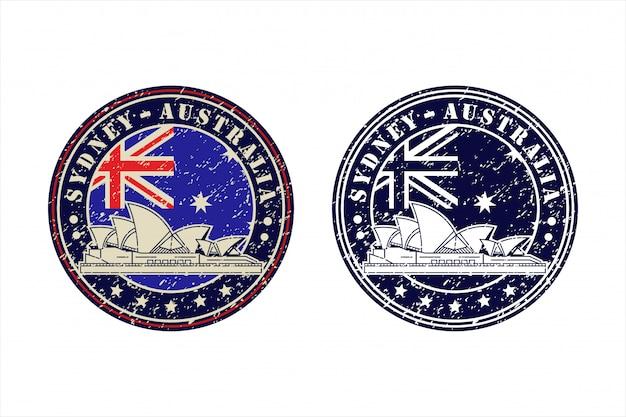 Sydney australien briefmarke travel design logo