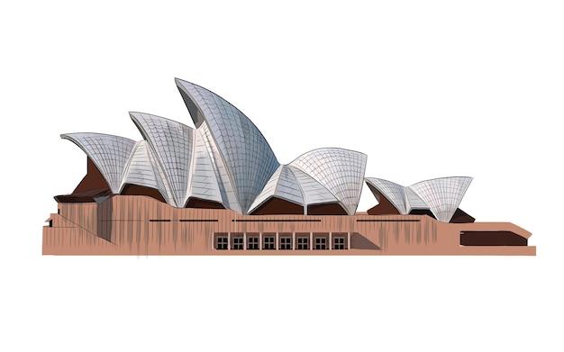 Sydney opera house aus einem spritzer aquarell, farbige zeichnung.