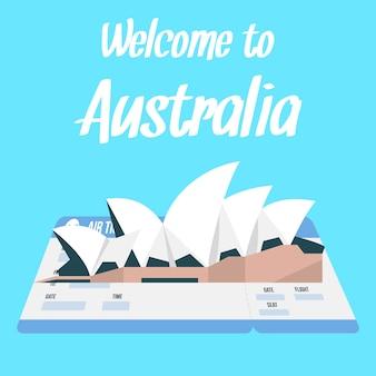 Sydney opera house-vektor-illustration mit text.