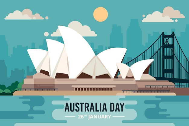 Sydney-opernhaus im flachen design