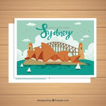Sydney-postkartenschablone mit hand gezeichneter art