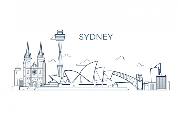 Sydney-stadtlinie skyline mit gebäuden und architekturschauplätzen.
