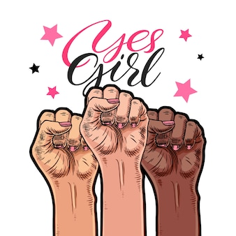Symbol der feministischen bewegung. ja mädchen. frauenhände mit erhobener faust