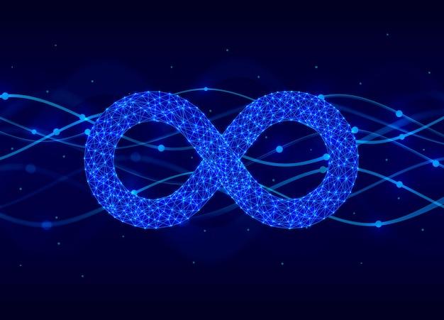 Symbol der unendlichkeit elektronisches zeichen, technologienetzwerk digital. vektorillustration