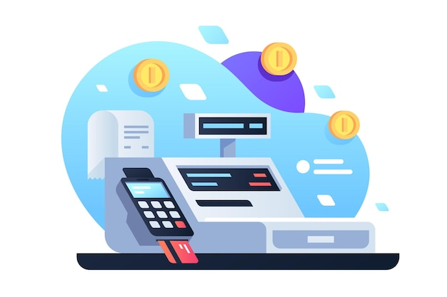 Symbol des geldautomaten für kassiererangestellten im laden. modernes gerät des isolierten konzepts unter verwendung der elektronischen zahlung per karte mit scheck und goldmünze.