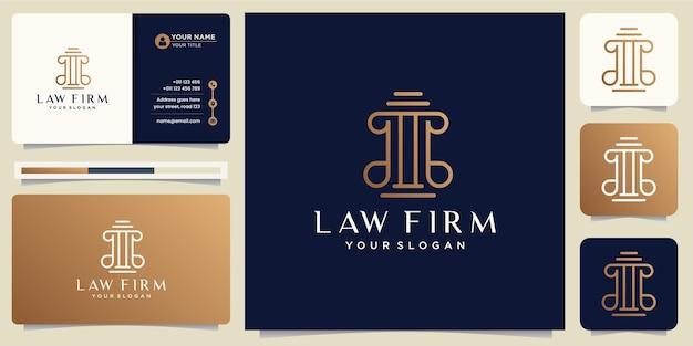 Symbol des gesetzes der prämiengerechtigkeit. anwaltskanzlei, anwaltskanzleien, anwaltsdienste, luxus-logo-design inspiration mit visitenkarte vektor-vorlage. premium-vektor