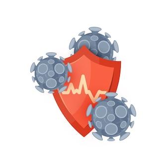 Symbol des immunsystems. konzept mit einem roten medizinischen schutzschild und viren oder bakterien. isoliert auf einem weißen hintergrund im flachen stil.