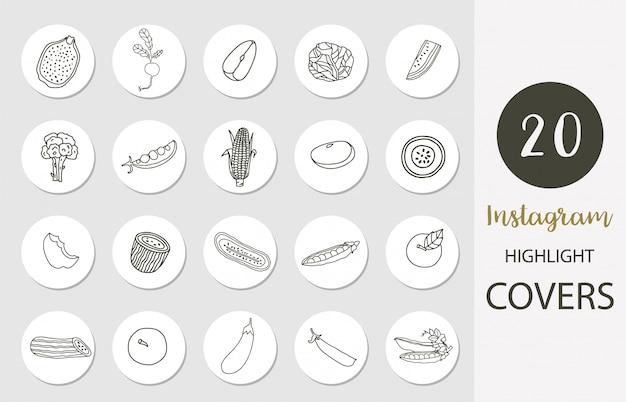 Symbol des instagram-highlight-covers mit obst, gemüse, apfel, mais im boho-stil für soziale medien
