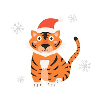 Symbol des jahres ist tiger in weihnachtsmütze auf weißem hintergrund mit schneeflocken vector illustration