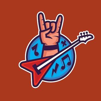 Symbol des rock'n'roll. konzeptkunst der rockmusik im cartoon-stil.