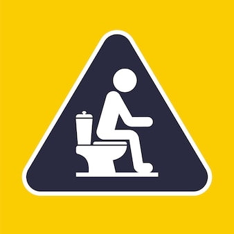Symbol einer person, die auf der toilette sitzt