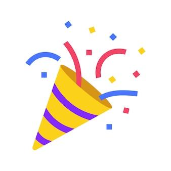 Symbol emoji party konfetti im sozialen netzwerk des clubhauses happy birthday cracker vektor-symbol