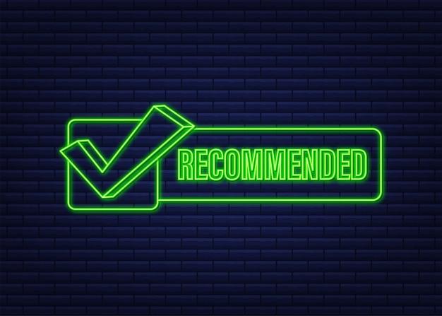 Symbol empfehlen neon-etikett auf dunkelblauem hintergrund empfohlen neon-symbol