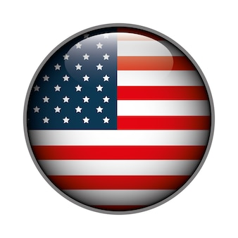 Symbol flag button usa isoliert