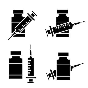Symbol für coronavirus-impfstoff. spritze mit fläschchenzeichen. medizinische impfstoffflasche mit spritzensymbol in schwarzer farbe. impfung gegen coronavirus. glyphensymbole. impfkonzept. vektor
