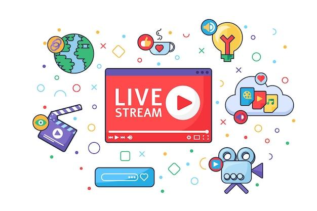 Symbol für das konzept des live-stream-produktionstools. social-media-idee halbflache illustration. symbole für online-sendungen. modernes cover-design. vektor isolierte farbzeichnung