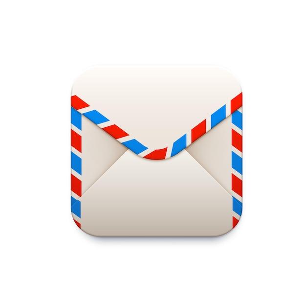 Symbol für den briefumschlag. e-mail-smartphone-anwendung, mobiler messaging- und mailing-service, 3d-vektorsymbol der lieferfirma-app oder ui-piktogramm mit weißem papierumschlag mit rotem und blauem streifen