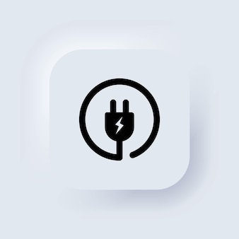 Symbol für den elektrischen stecker. draht, energiekabel. neumorphic ui ux weiße benutzeroberfläche web-schaltfläche. neumorphismus. vektor-eps 10.