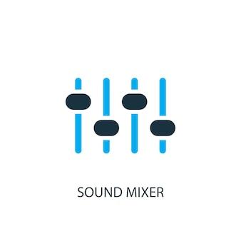 Symbol für den soundmixer. logo-element-abbildung. sound-mixer-symbol-design aus 2-farbiger kollektion. einfaches sound-mixer-konzept. kann im web und mobil verwendet werden.